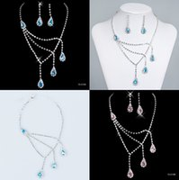 best selling jewelry - Best Selling Bridal Jewelry Sets Necklace and Earrings Blue Pink Diamonds Rhinestone Accessories for Prom Party Wedding