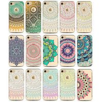 Wholesale Clear Transparent Henna Mandala Printing Painting Phone Back Case Cover For IPHONE S S S PLUS S S PLUS