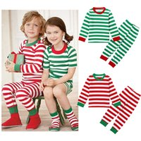 Wholesale Red Green Stripe Long Sleeve Girls Boys Kids Polyester Christmas Pajama Suits Sleepwear For Christmas Years sets