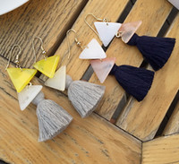 Pendientes largos de la borla del triángulo de acrílico bohemio para las mujeres 2016 nuevos pendientes