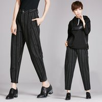 Wholesale Europe new winter thick woolen striped pants carrot pants harem pants casual pants were thin pantyhose