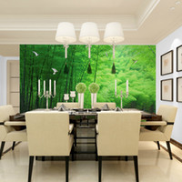 bamboo scenery - Modern non woven bamboo plant green natural scenery of large bedroom TV background wallpaper the living room suitable for a restaurant free
