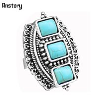 adjustable craft rings - Retro Craft Tibetan Alloy Antique Silver Plated Snail Flower Tail Three Square Turquoise Adjustable Ring TR234