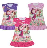 Wholesale 2016 Summer children clothing girls dress sleepwear Masha and The Bear kids short sleeve dresses nightgown baby clothes