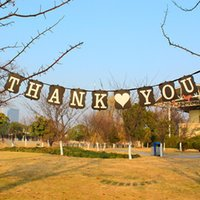 Wholesale A beatiful THANK YOU Wedding Banner Photo Props Bunting Bridal Party Decoration Black Color kraft paper