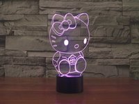 beautiful living room lamps - Beautiful elegant D acrylic glittering night LED Hello Kitty children s touch birthday gift bedroom lamp living room
