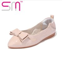 Cheap Popular Spring Cozy Women Shoes Fashion Pointed Toe Boat Shoes Brand Foldable Ballet Shoes Beautiful Bowtie Charm Women Flats