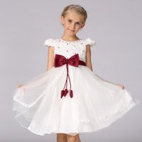 Wholesale Flower Girl Dresses In Storage Spring Autumn Lace Flower Dress Kids Girl Formal Wear Bow Decorative Belt Colors Optional years