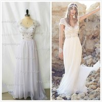Wholesale Anna Campbell Beach Wedding Dresses Lace A Line V neck Pearl Beads Cap Sleeves Plus Size wedding Style Arabic Bohemian Bridal Gowns