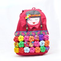backpack colorful - Fashion shoulder bag decorated with colorful d flowers Lovely cartoon backpack Bucket package in red and cyan