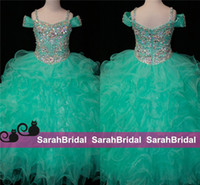 Wholesale Teal Green Flower Girls Dresses Crystals Long Little Girl s Pageant Kids For Girl Infant Cheap Glitz First Communion Prom Ball Gowns