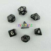 Wholesale 7pcs set DND Table BOARD GAME Dungeons Dragons number D4 D6 D8 D10 D12 D20 dice black Child Party Solid Colour dices IVU