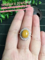 beeswax sale - on sale Real sterling silver special process mm Diana style natural true beeswax ring for women stone fine jewelry