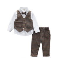 Cheap Hug Me Baby Boys Outfits and Sets Babys, Kids Clothes 2016 New Summer Bow Long Sleeve T-shirts Waistcoat and Pants 2Sets AA-349