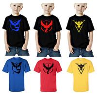 Wholesale Children tops Short sleeve T shirts Poke Pattern Boys girls Pikachu Jeni turtle Charmander Valor Team Mystic Pokeball Go KKA521