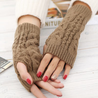 Wholesale Winter Multi Color Buttons Knitting Gloves Fashion Woman Mittens New cm Fingerless Gloves keep warm