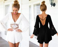 Wholesale Hot Sexy white backless Big V neck Girls women Rompers and Jumpsuits playsuits compridos for women Summer d0048
