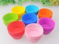 Wholesale FDA Silicone Cake Mold Moulds Muffin Cupcake Baking Dishes Pan Bake Cake Dessert Decorating Tools Bakeware Kitchen Dining Bar Colors DHL
