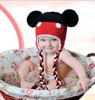 beanie babies heads - Mickey hats Cute Baby cartoon Costume Handmade Crochet Knitted Hat Animal Mouse Head Beanie Cap AA