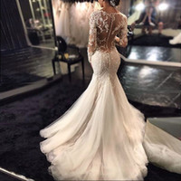 Wholesale Long Sleeves Mermaid Wedding Dresses Delicate V Neck Appliques Lace Satin Tulle Custom Made Wedding Gowns With Sleeves Sheer Back