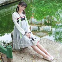 Wholesale Chinese Tang Dynasty Ruqun Hanfu Women Lolita Long Sleeve Chiffon Dress model wear