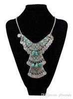 2015 Vintage Tribal Gypsy Boho Turc Antalya Argent Zamac Turquoise Choker Bijoux Cadrage Métal Pièce Frange Statement Collier