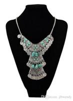 2015 Vintage Tribal Gypsy Boho turque Antalya Argent Zamac Turquoise Choker Bijoux Sculpture Collier Déclaration pièce de métal Fringe