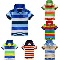 baby washed t shirts - Children Baby Boy Stand Collar Striped T shirt Casual Tops Kids Tee Shirt Y The one
