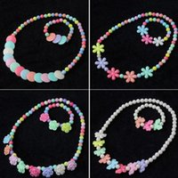 Wholesale 27 styles kids necklace and bracelet plastic type kids Jewelry gift colorful and good quality