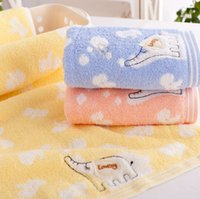 baby washcloths free shipping - Children Baby Untwisted Yarn Cotton Soft Towel Cartoon Elephant Washcloth Brand New Good Quality
