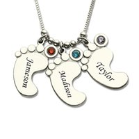 baby name jewelry - Moms Jewelry Silver up to Baby Feet Charms Necklace with Birthstone Kids Celebrate Moms Children Name Jewelry