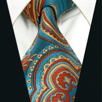 Wholesale A33 Blue Orangere Abstract Mens Necktie Tie for male Silk Jacquard Woven Wedding Fashion Brand New Novelty