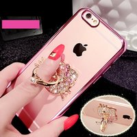 Wholesale Cell Phone Crystals Cover - iPhone 6 Case Cell Phone Ring Holder Cases Bling Diamond Kickstand Cases Crystal TPU Cover for Iphone 6 6s 7 plus Note 7