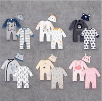 Wholesale Summer Kids Romper Set - RMY23 NEW 8 Design infant Kids Cartoon Animals Print Cotton long sleeve Romper baby Climb clothing boy girls 3 piece set Rompers free ship