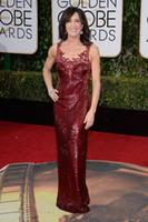 Wholesale Felicity Huffman rd Golden Globe Awards Celebrity Red Carpet Dresses Sparkly Sheer Neck Backless Sequined Evening Prom Dresses