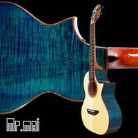 Wholesale Tenor Ukulele Solid spruce Inches bule maple Ukulele High quality Electric strings mini Guitar Hawaii Ukulele Bag