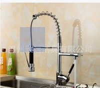 Wholesale New Arrival Brass Spring Pull Out Kitchen Faucet Kitchen Mixer with Two Spouts kitchen Tap Chrome Finished