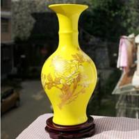 achat en gros de ceramic and porcelain vase-Expédition Jingdezhen porcelaine couleur glaçage vase ornements Chinese Modern Yellow Home Furnishing ceramic furnishings