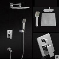 arm bath - new Chrome Finish inch Shower Faucet Bath Shower Mixer Taps Brass Wall Mount Shower Arm ABS Handshower Brass Mixer Valve