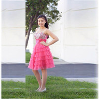 bat mitzvah dresses - Hot Pink Knee Length Tiered Prom Dresses Bat Mitzvah Dress Sweetheat Beaded Crystals Ruffles Girl Graduation Party Gowns free shippng