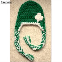 autumn kelly baby girl - St Patrick Day Kelly Green Crochet Clover Hat with Braids Baby Girl Boy Cap Toddler Photography Prop