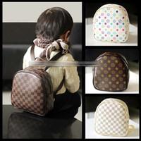 Wholesale 5 Color Children fashion lattice bag New Shoulders Backpacks Cute lattice Catoon Modelling Kids Bags Leisure Schoolbag