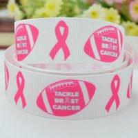 awareness football - quot mm Pink breast cancer awareness Aids football Printed grosgrain ribbon hairbow DIY handmade YD
