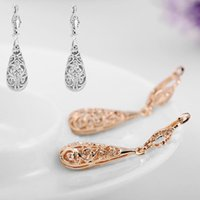 antique victorian chandelier - 1 Pair Cute Silver Rose Gold Woman s earrings Lady Hollow Victorian Vintage Style Tear Drop Earrings Antique Dangle Chic Jewelry