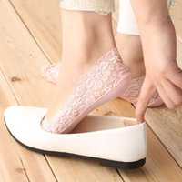 Wholesale PAIR Women Lady Lace Cotton Socks Anti Skid Invisible Short Ankle Boat Low Cut Socks New