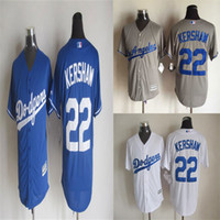 Wholesale 22 Clayton Kershaw Jersey Los Angeles Dodgers Jerseys Cool Base Jersey Cheap Baseball Sport Jersey Color White blue Grey