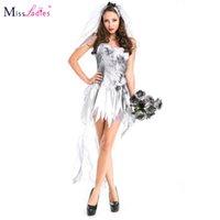 adult bride costumes - Miss Ladies plus size M XL Halloween women adult costume zombies bride sexy cosplay uniform dress including dress veil