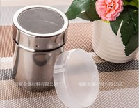Wholesale Stainless steel barrel of flour dusting pot authentic sugar sieve DIY essential with plastic cover kitchen