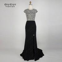 beaded silk chiffon fabric - Real Photos Jersey Fabric vestido de festa A Line Long Evening Dress OL102789 Prom Dress robe de soiree