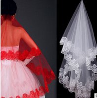 big dollar - 2016 New Wedding Dress Veil Bridal Gown Veil Lace Meters White Red Tulle One Layer Without Comb Cheap Big Discount Under dollars